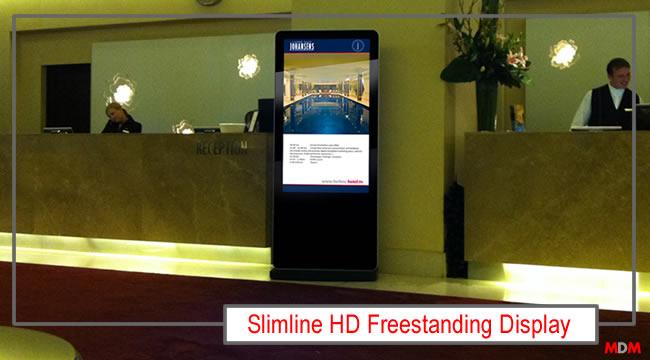 Slimline HD Freestanding Digital Advertising Display by Magic Display Mirror